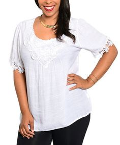 Another great find on #zulily! White Floral Crocheted Top - Plus #zulilyfinds