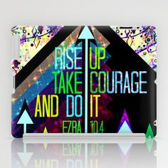 RISE UP TAKE COURAGE AND DO IT Colorful Geometric Floral Abstract Painting Christian Bible Scripture iPad Case by The Faithful Canvas - $60.00 #tech #device #iPad #iPadMini #iPadcover #Christian #typography #techie #geometric #colorful #font #scripture #God #inspiration #motivation #courage #Ezra #bold #arrows