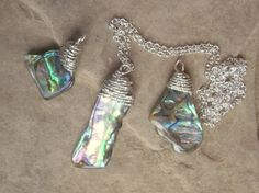 Paua Abalone Shell Pendant / Necklace 925 by KiCrystalCreations Shell Pendant, Pendant Necklace, Abalone Shell, Sterling Silver Jewelry, Shells, Crystals, Crafts, Conch Shells, Manualidades
