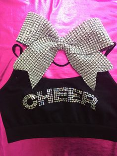 Cheer Sequin Cami Style Sports Bra with Matching Rhinestone Bow in Silver on Etsy, $19.99
