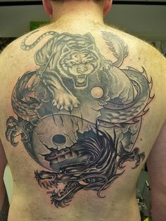 Tiger and Dragon Yin Yang Tattoo On Left shoulder | Yin Yang ...