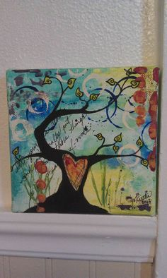 Tree with heart  Original Mixed Media on Canvas by by HygeiaWhimsy, $74.00