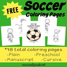 Soccer Coloring Pages & Emergent Readers Preschool Colors, Free Preschool, Toddler Preschool, Toddler Soccer, Preschool Themes, Free Printable Worksheets, Worksheets For Kids, Free Printables, Sports Illustrated Kids