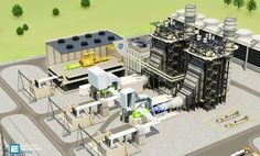 The combined cycle power plant or combined cycle gas turbine, a gas turbine generator generates electricity and waste heat is used to make steam to Distributed Control System, Bim Model, Gas Turbine, Construction Process, Water Systems, Plant Design, Water Pipes, Building Design, Model Trains