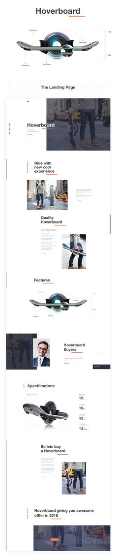 """Hello Everyone....Finally I finish the """"Hoverboard Landing Page Design"""". I tried to make this design with different concept. All the images are just demo image. I hope you guys will like my concept.Thank you."""