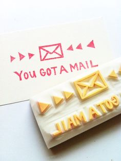 you got a mail hand carved rubber stamp handmad by talktothesun