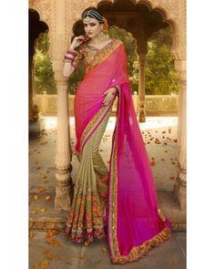 Pink & Gold Silk Georgette Saree
