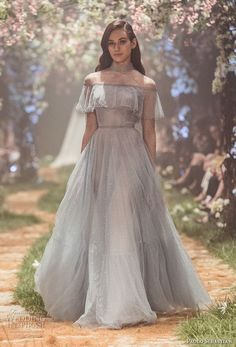 paolo sebastian spring 2018 couture long sleeves illusion high neck straight across neckline light embellishment romantic vintage pastel blue a  line wedding dress (7) mv -- Paolo Sebastian Spring 2018 Couture Collection