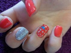 Orange with nail art
