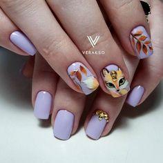 Winter Nail Art, Autumn Nails, Trendy Nail Art, Nail Art Diy, Fox Nails, Thanksgiving Nail Art, Thanksgiving Ideas, Nail Drawing, Korean Nail Art