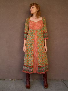 BOHO 1970's Pink & Green INDIAN Dress.....I regret getting rid of all my Indian clothing from that era!!