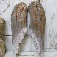 Rustic angel wings wood and metal wall hanging painted gold bronze rusted wing set home decor anita spero