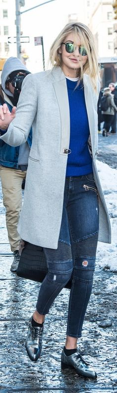 Gigi Hadid street style: metallic brogues a grey coat and mirrored sunglasses