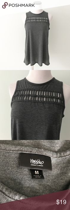 Mossimo Gray Tank Top cut out front Long gray tank top with cut out design on front. Mossimo Supply Co Tops Tank Tops
