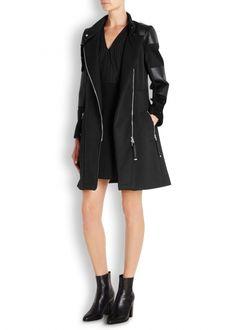 Black twill and faux leather biker coat - Women