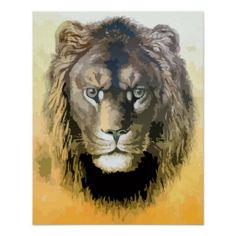 Painting from vector art male lion 4/5 posters