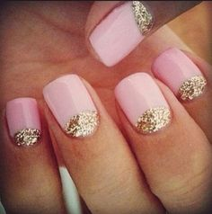 Pastel pink nails with gold glitter