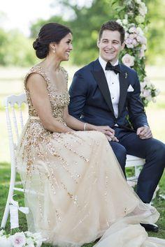 Gorgeous + glamorous sparkly gold wedding dress…