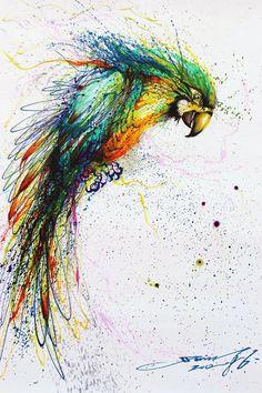 L'Artiste Chinois Hua Tunan Crée des Oeuvres Impressionnantes. Fresques Murales ou Autre Portraits d'Animaux. Il Utilise la Technique des Eclaboussures de Peinture qi'il Peaufine ensuite Manuellement (Perroquet)