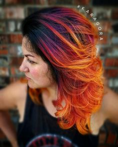 RAINBOW HAIR, long hair, hair color, pink hair, purple hair, orange hair, yellow hair, ombre, balayage, colormelt, colorful hair