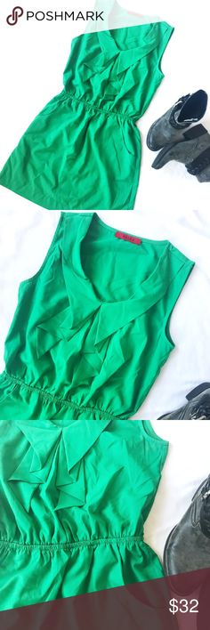 AKIRA RUFFLED TANK DRESS AKIRA ruffled tank dress in green. Waist has elastic for added comfort. Dress is made of 96% polyester and 4% spandex. Bust measures to 33 inches and length of dress is 32 inches. AKIRA Dresses
