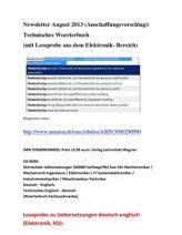 Newsletter August 2013 Anschaffungsvorschlag): Technisches Woerterbuch mit Leseprobe aus dem Elektronik Bereich