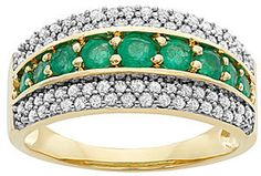 jcpenney FINE JEWELRY 1/2 CT. T.W. Diamond & Emerald 10K Yellow Gold Ring on shopstyle.com