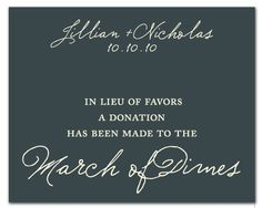 this is awesome instead of wedding favors.. a monitary donation to a charity!!! love this..