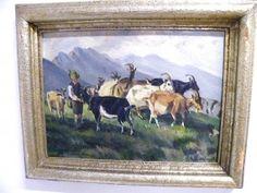 Ziegen auf der Weide Ölgemälde um 1930