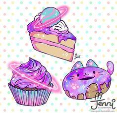 Galaxy dessert anyone? Cute Food Drawings, Cute Animal Drawings Kawaii, Arte Do Kawaii, Kawaii Art, Chibi Kawaii, Kawaii Anime, Cute Cupcake Drawing, Stickers Kawaii, Kawaii Wallpaper