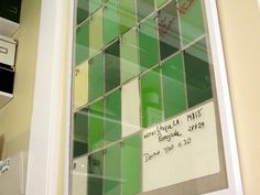 DIY calendar.  Use poster frame, create square pattern for month and day, use dry erase marker to write on glass for each day.
