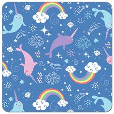 Narwhals Magical Universe Print PUL | Print PUL Fabric | Diaper Sewing Supplies