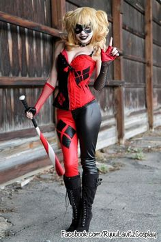 Harley Quinn joker red and black costume and makeup for 2014 Halloween #2014 #Halloween
