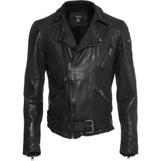 TIGHA Seth Black // Leather jacket in biker look ($510) ❤ liked on Polyvore featuring mens, men's clothing, men's outerwear and men's jackets