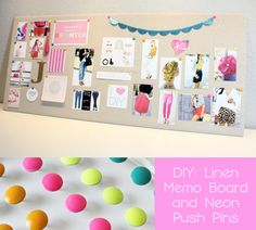 Linen memo board and neon push pins