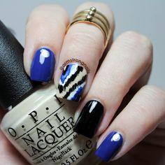 royal blue ikat nail art -- Instagram@armstrongnails