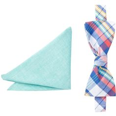 Original Penguin Plaid Bow Tie & Pocket Square Set ($20) ❤ liked on Polyvore featuring men's fashion, men's accessories and blue