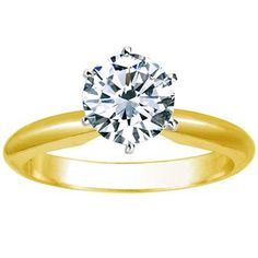 1 Carat Round Cut Diamond Solitaire Engagement Ring 18K Yellow Gold 6 Prong (K, I1, 1 c.t.w) Ideal Cut