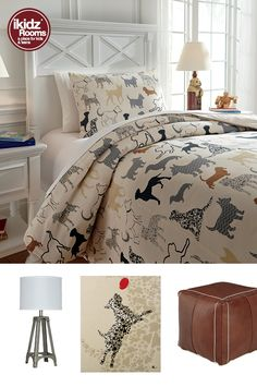 Doggone spot on. The Howley Comforter Set catches your eye with layers of interest and amazing detail. The simple pet silhouette pattern is perfectly fetching. iKidz Rooms® - Kids, Teen and Youth Bedroom Furniture, Accessories, Bedding, Comforter Sets - Kids Bedroom Ideas - Dog Theme - Animal Lover