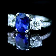 Cushion cut sapphire engagement ring
