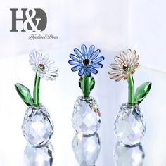 Home & Garden Statues & Sculptures Mothers Day Gifts,k9 Crystal Sunflower Figurines Ornament High Quality Glass Flower Miniatures Home Fengshui Decorations