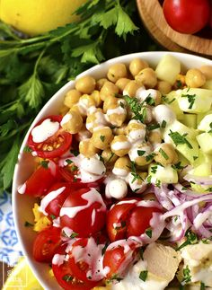 Mediterranean Chicken and Chickpea Bowls with Yellow Rice are healthy…