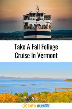 Take a fall foliage cruise on beautiful Lake Champlain in Vermont. This relaxing sightseeing adventure belongs on your autumn travel bucket list. It's great for family fun or a romantic day trip! Lake Champlain, Bus Conversion, Boat Tours, Autumn, Fall, Vacation Spots, Day Trips, Vermont, Retirement