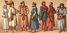 Left to right: Peasant woman and man from the outskirts of Crakow, in work clothes, 14th century; two gentlemen, second half of the 15th century; townsman and gentleman in clothing worn between 1553 and 1434; peasant from the palatinate of Mazovia.