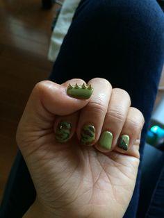 2014/Oct. Camo nail with spikes/ left :D Cuuuutest nail design everrrrr!