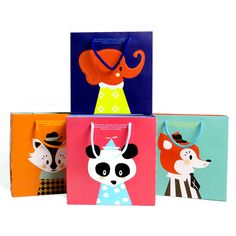 5PCS Fashion gift paper bag exquisite cartoon fresh birthday packaging handbag Party Children's day Panda Elephant Animals #Affiliate