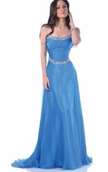 Blue A-Line/Princess Strapless Natural Long/Floor-length Sleeveless Crystal Chiffon Sweep/Brush Train Zipper Up Prom Dresses Dress
