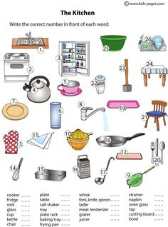 Ficha de vocabulario para repasar los utensilios de cocina en inglés / Kitchen stuff english vocabulary