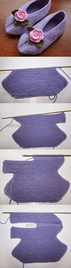 DIY Knitting Slippers - wonder if this could be done with crochet? Diy Knitting Slippers, Crochet Slippers, Knit Or Crochet, Loom Knitting, Knitting Stitches, Crochet Baby, Hand Knitting, Baby Slippers, Baby Socks