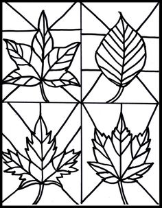 Free fall leaves stained glass printable. Students could reference real leaves and draw their own version.